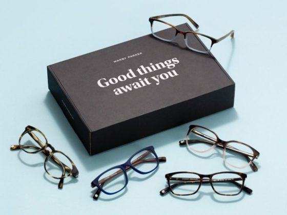 Five pair of Warby Parker glasses with boxing on the bottom