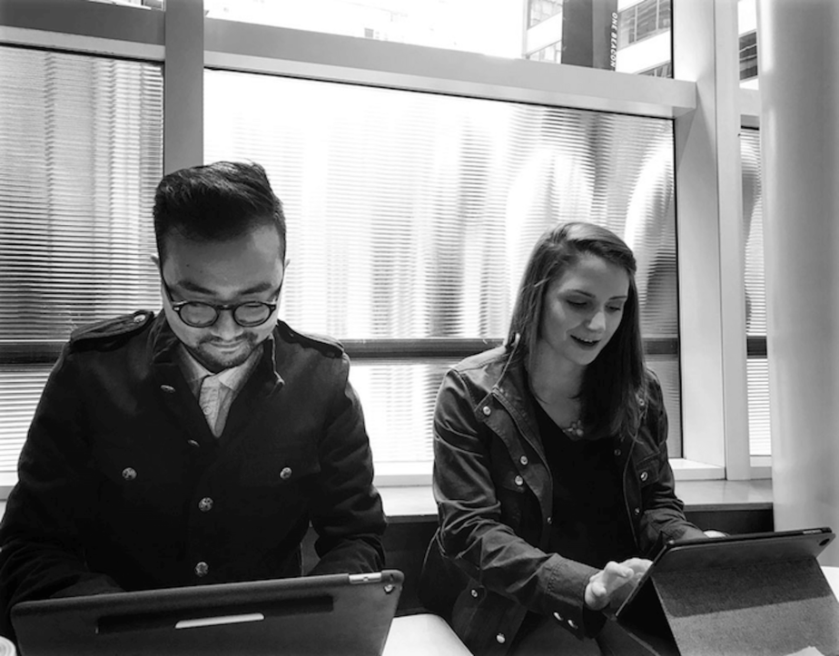 Image of Kairos team members working on brand identity for a client.