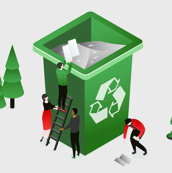 Green recycling bin, trees, and people recycling