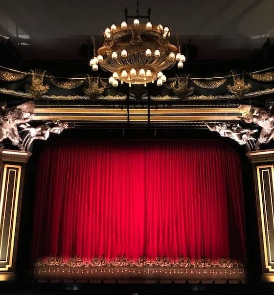 Theater with red curtains