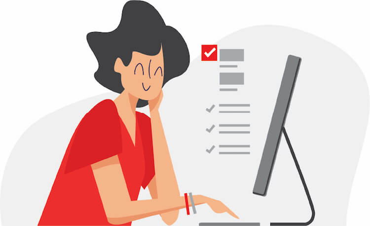 Vector Image of Woman Reading on her Computer.