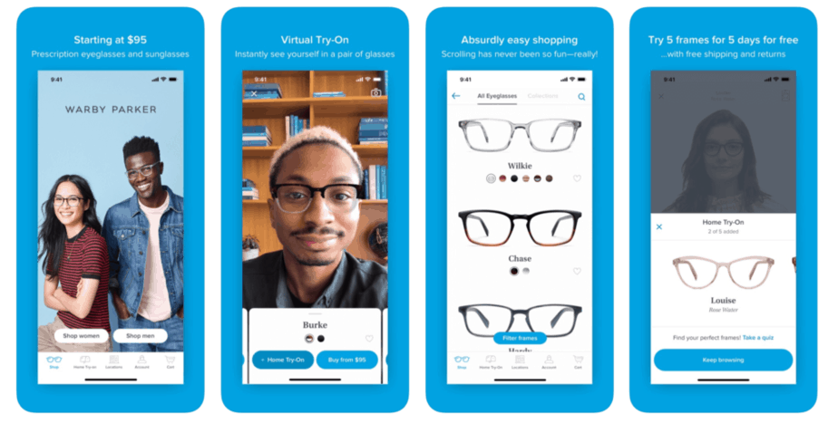 Screen shots of the five day trial program provided by Warby Parker