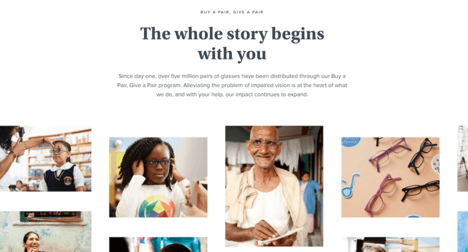 Buy one give one offer, people receiving glasses from Warby Parker