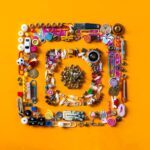 Image of Instagram logo made up of various objects on orange background.