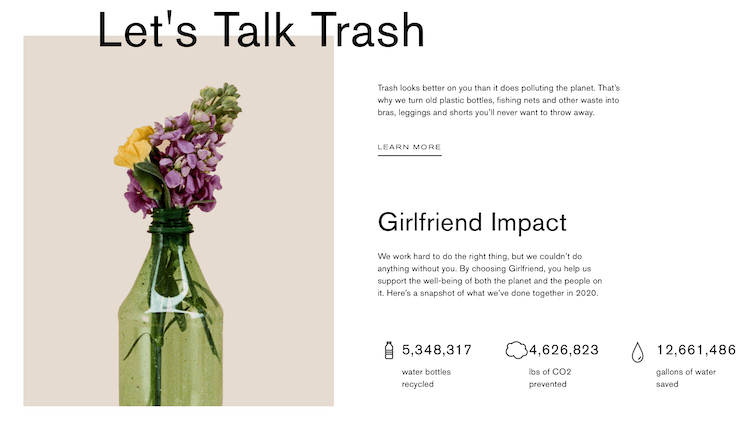 Screen capture of the Girlfriend Collective Recycling and No-Waste Initiative.