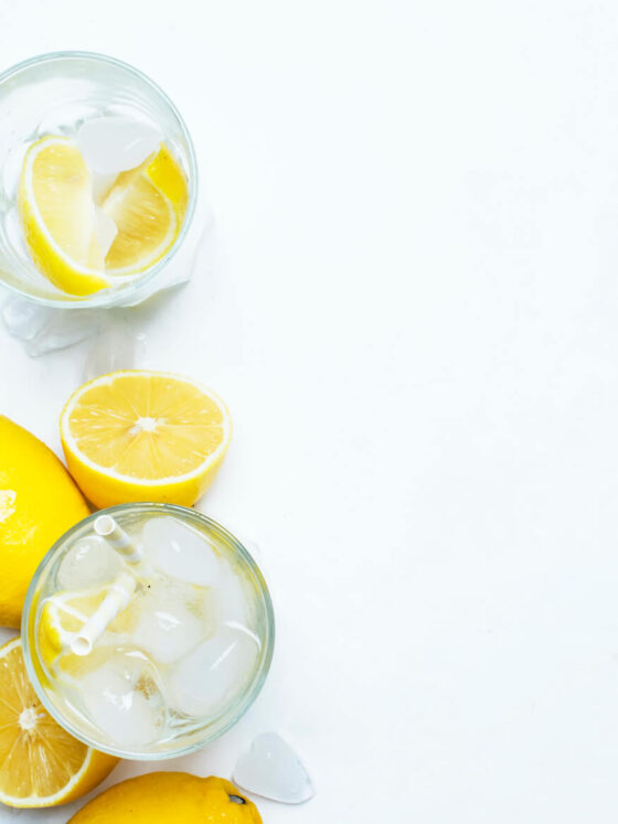 Image of Refreshing Glass of Water with Lemonade.