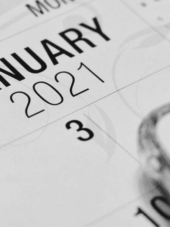 Closeup black and white image of a January 2021 Calendar.